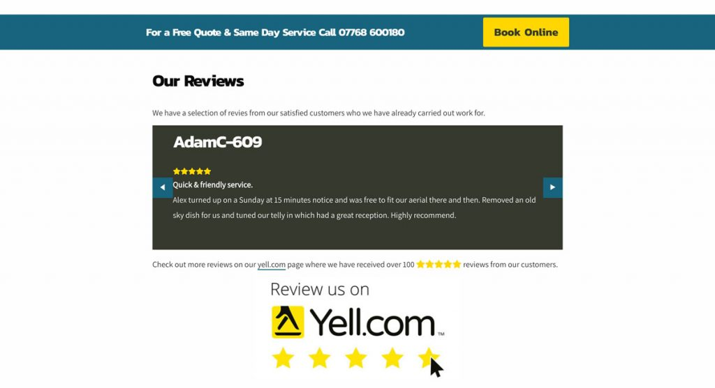 Reviews and Call-to-action section on the S&S Aerials Website.